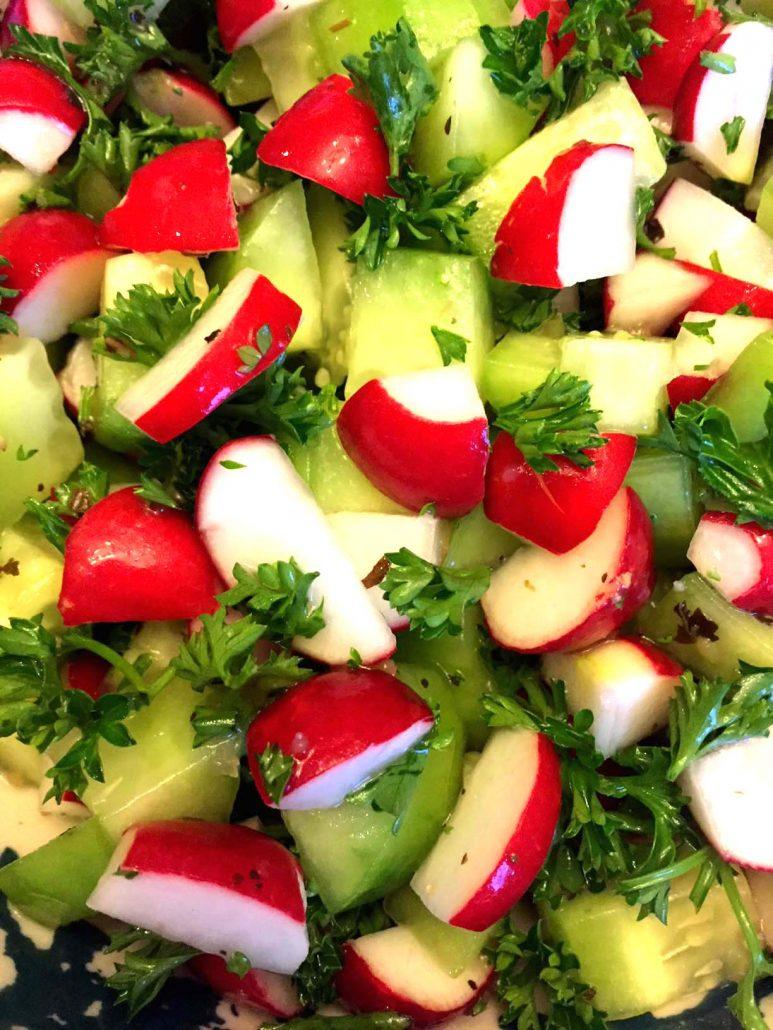 Chopped Cucumber Radish Salad