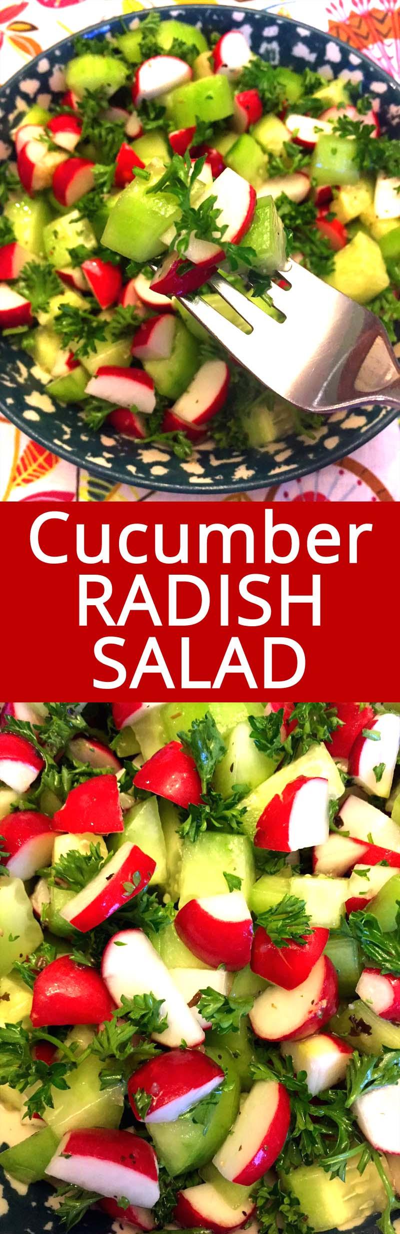 I love this cucumber radish salad! So healthy, crunchy and refreshing! YUM YUM YUM!