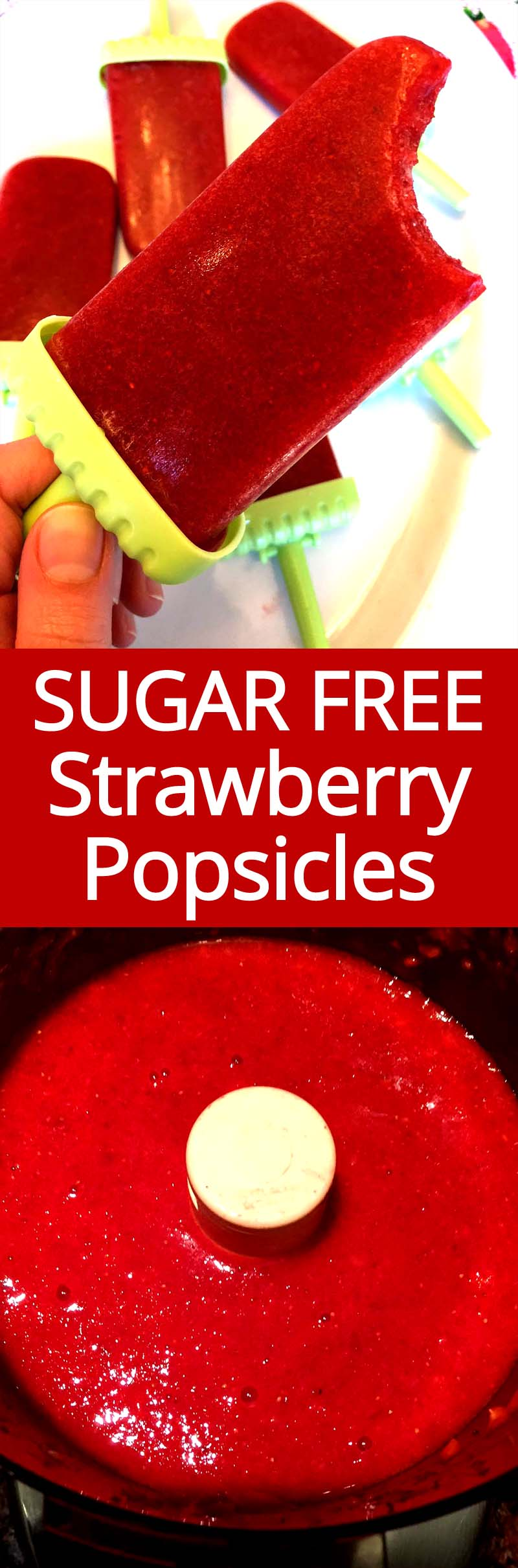 These homemade sugar-free strawberry popsicles are amazing! No added sugar!!!! So easy to make and super healthy! This is my favorite healthy treat, SO YUMMY!!!