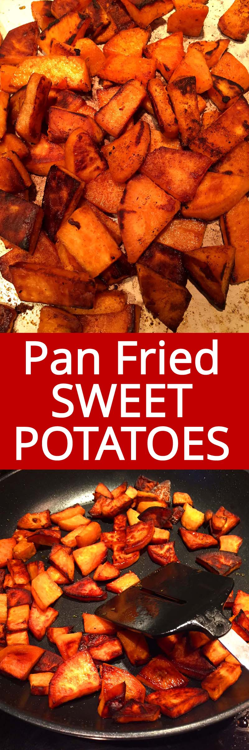 These pan fried sweet potatoes are amazing! So easy to make and so my healthier than regular potatoes!