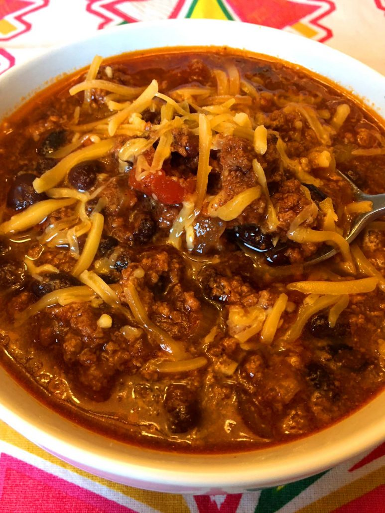 Bowl Of Instant Pot Chili With Ground Meat And Beans
