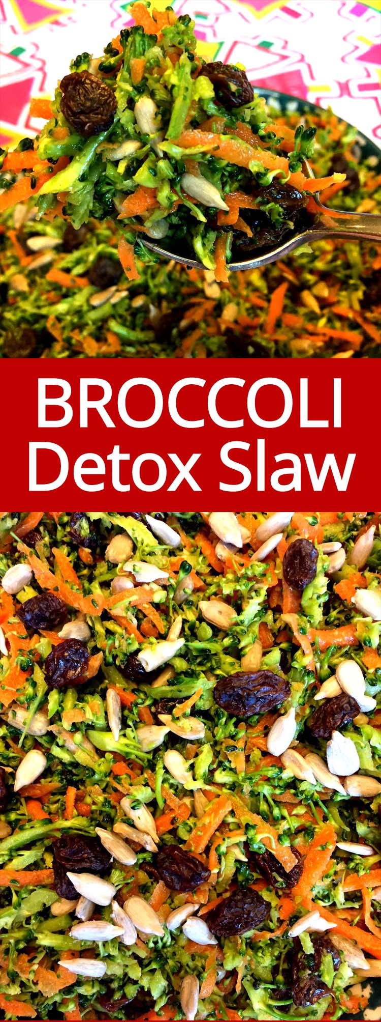 I love this healthy broccoli slaw! This raw detox broccoli salad is so good for you and tastes amazing!  You can make a huge batch and eat it all week!