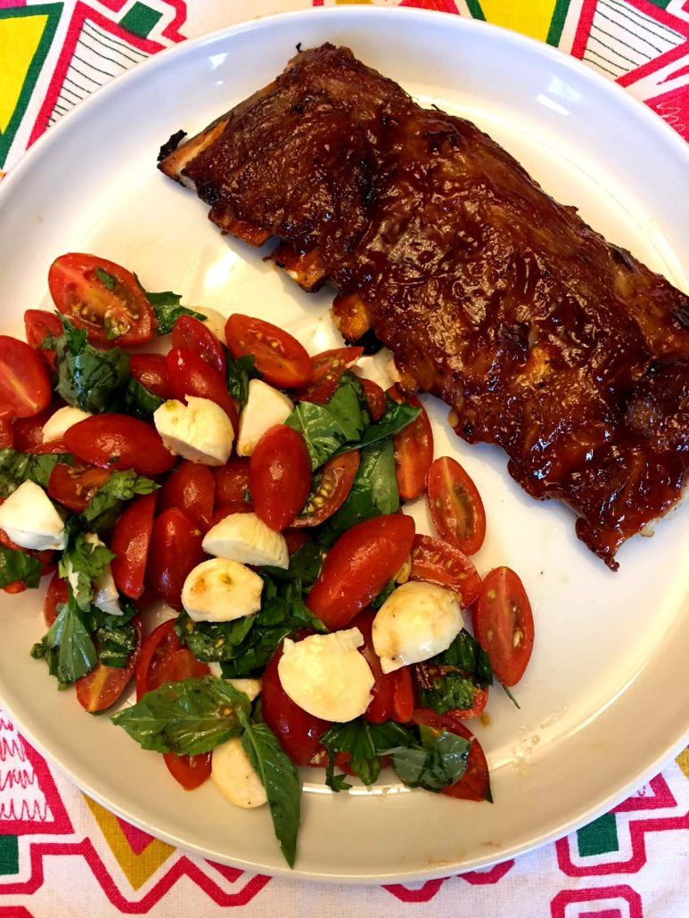 Instant Pot ribs with salad