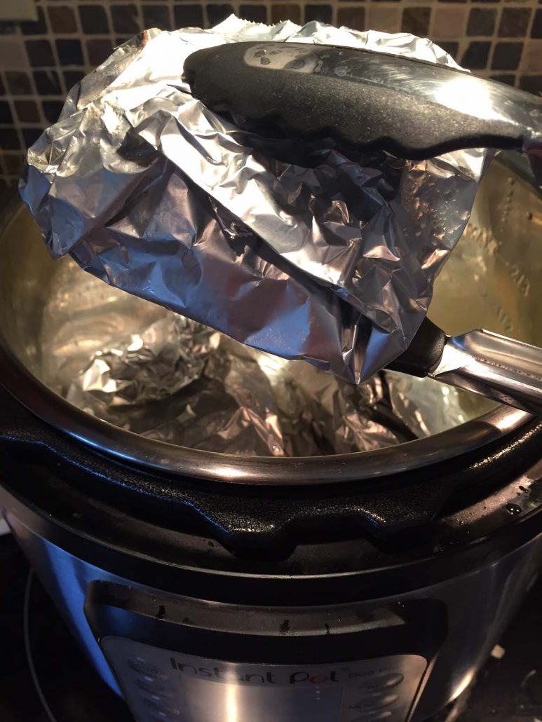 Pressure cooking burgers in foil