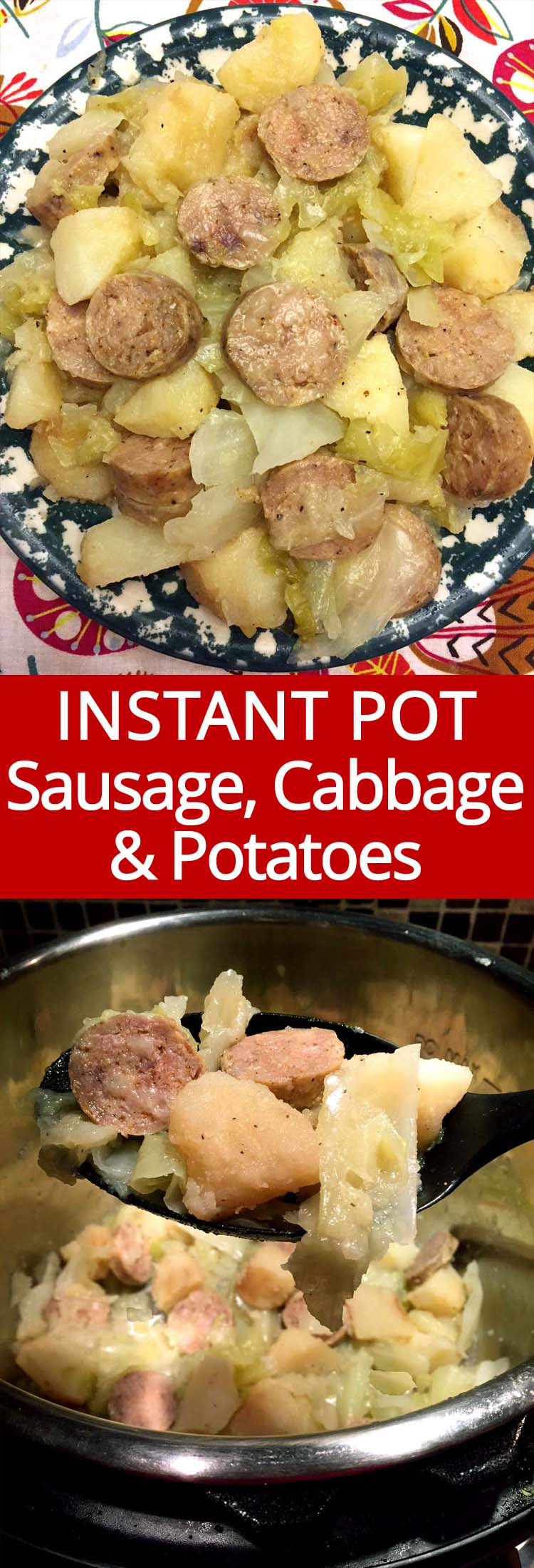 This Instant Pot kielbasa sausage, cabbage and potatoes dinner is ready in 10 minutes! Sooooo yummy! I love my instant pot!