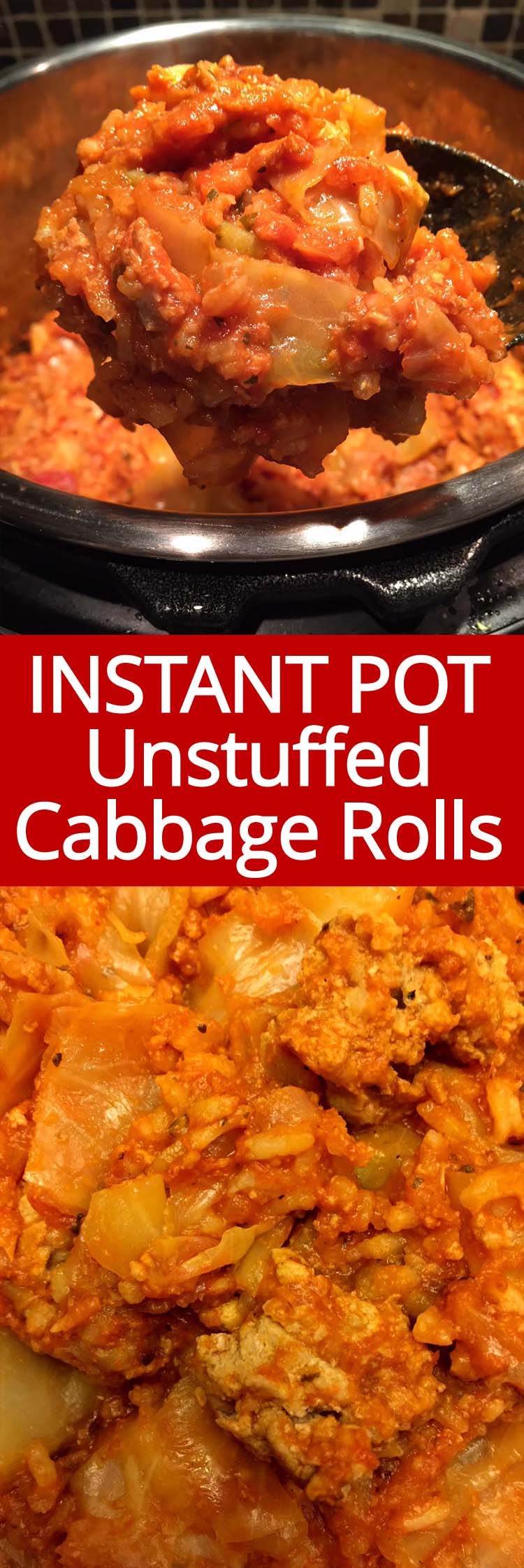 These Instant Pot unstuffed cabbage rolls casserole is amazing! One-pot dinner, just dump everything in the Instant Pot and enjoy! I love these lazy cabbage rolls!