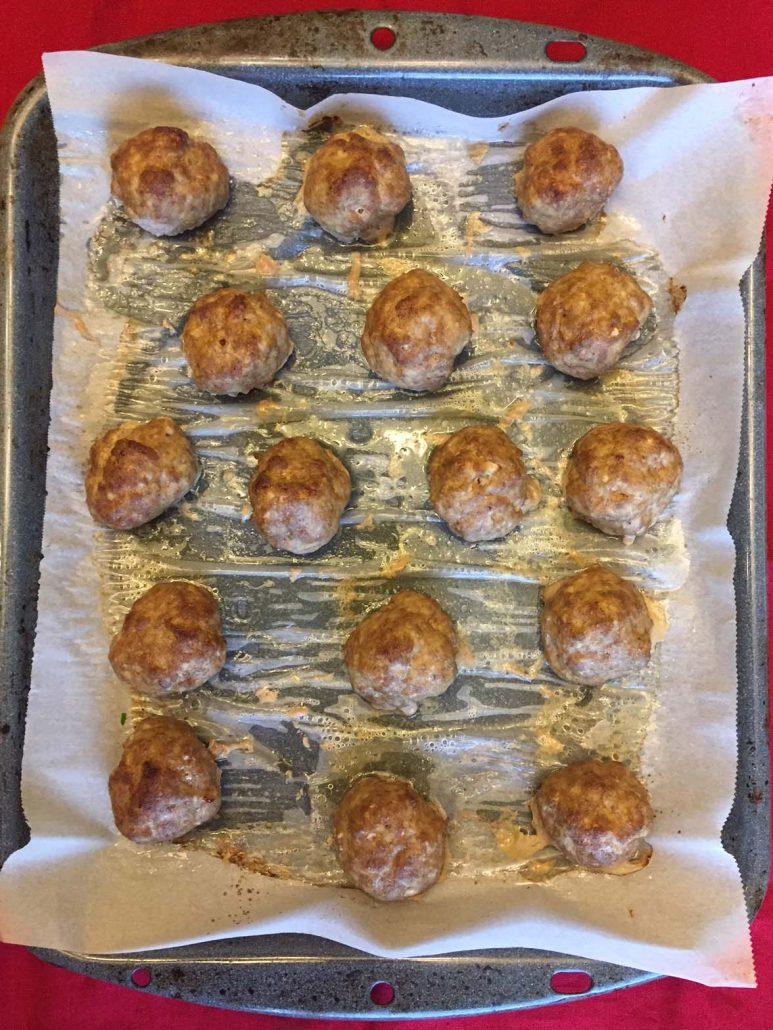 Keto Meatballs on a baking sheet
