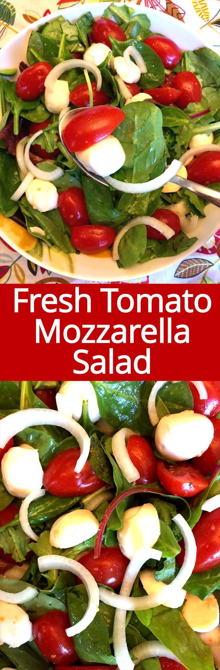 This fresh tomato mozzarella salad is amazing! I love fresh mozzarella!