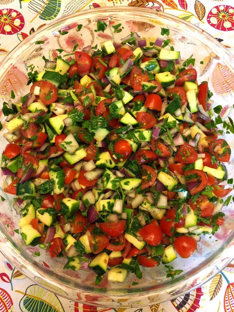 Unpeeled Raw Zucchini In A Salad