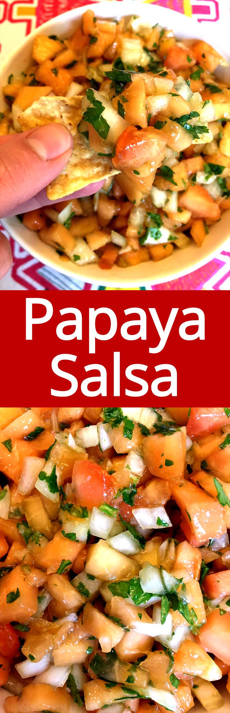 This papaya salsa is amazing! It's like the taste in the tropics in a bowl! So easy to make and always a hit!