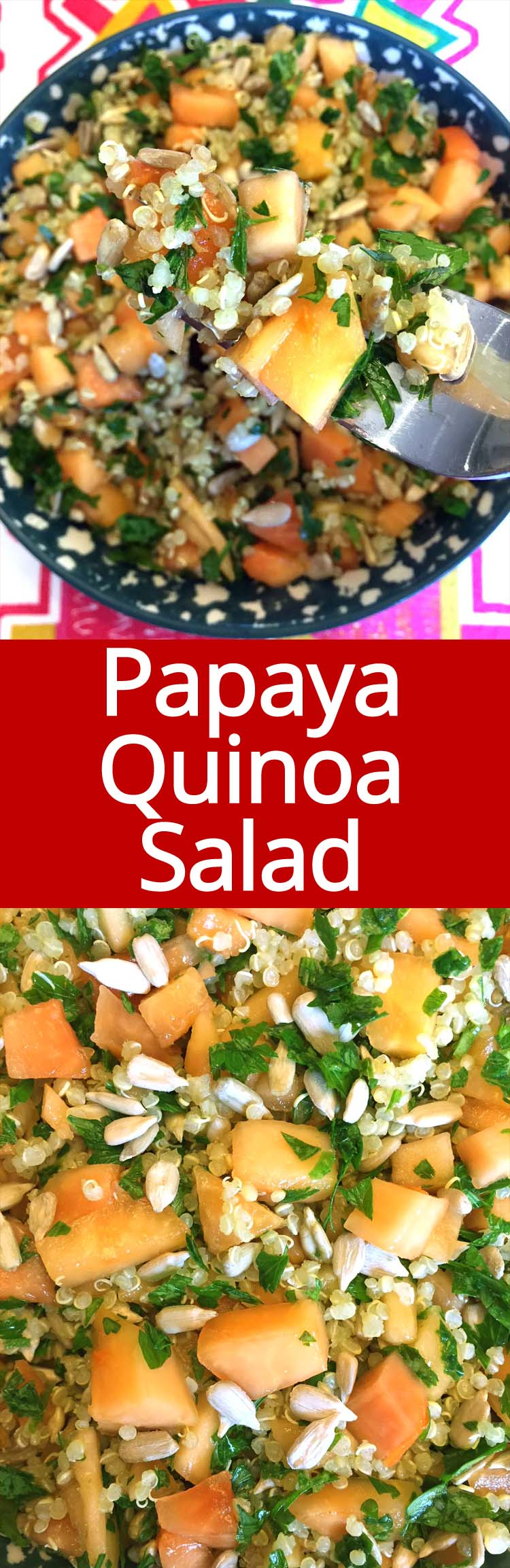 I love this papaya quinoa salad! So easy to make, healthy and refreshing!  It stays fresh in the fridge for 5 days, perfect for weekly meal prep!