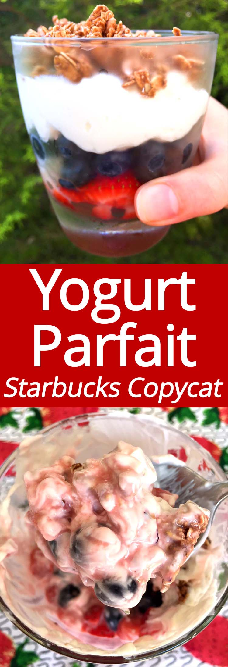 This fruit and yogurt parfait is amazing! Now I don't have to go to Starbucks to get it for breakfast! It's made with Greek yogurt and fresh blueberries and strawberries, yum! So much cheaper and healthier then Starbucks!