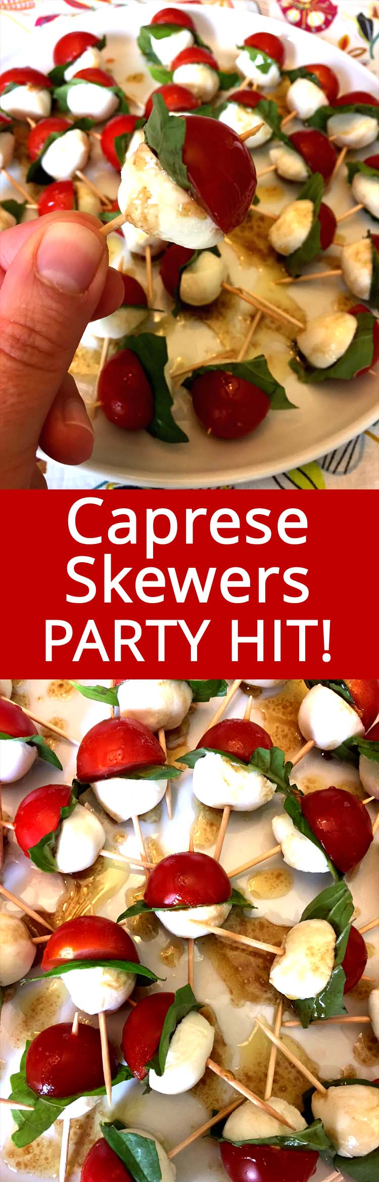 These caprese salad skewers are my go-to appetizer to bring to a potluck! They are healthy, cute and so delicious! Everyone loves these tomato mozzarella bites!