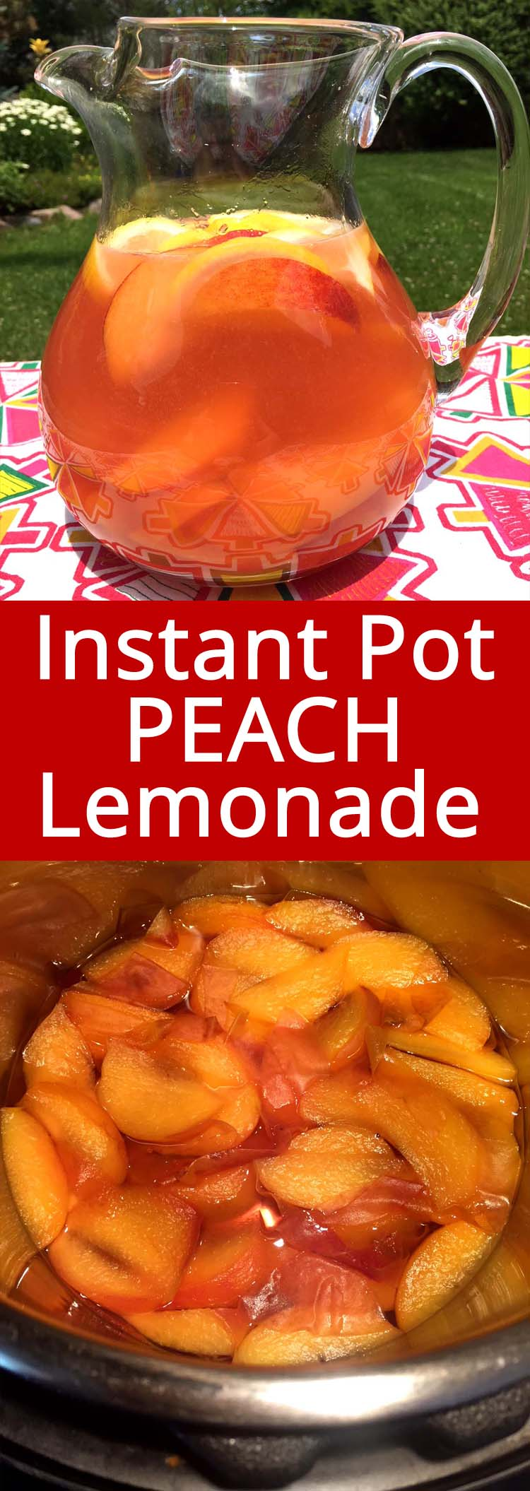 This Instant Pot fresh peach lemonade is the best peach lemonade I've ever tried!  Nothing compares to the taste of real fresh peaches!