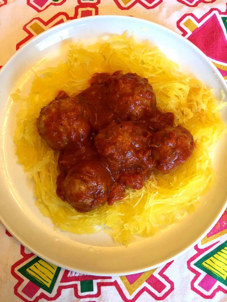 Instant Pot spaghetti squash and meatballs