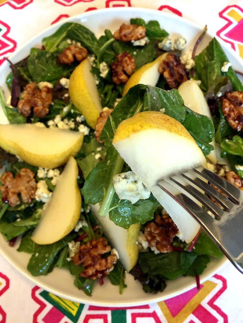 Pears Walnuts Blue Cheese Baby Greens Salad