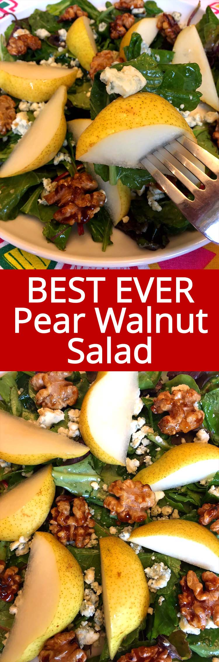 This pear walnut salad is amazing! Juicy pears, candied walnuts and blue cheese go so well together! So easy to make, everybody loves this salad!