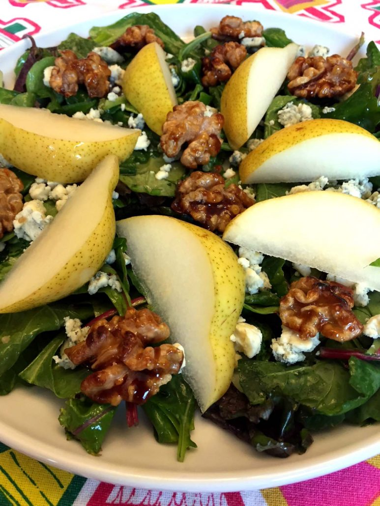 Pear Candied Walnut Blue Cheese Salad