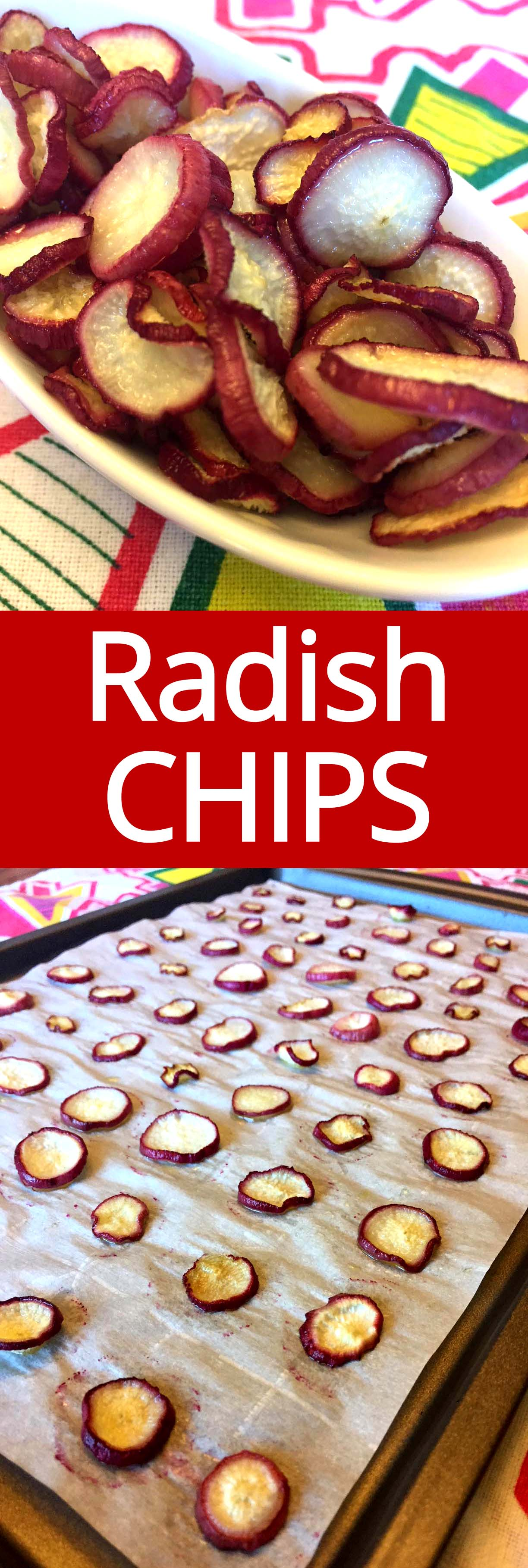 These oven baked radish chips are amazing! This is a perfect low-carb snack option!