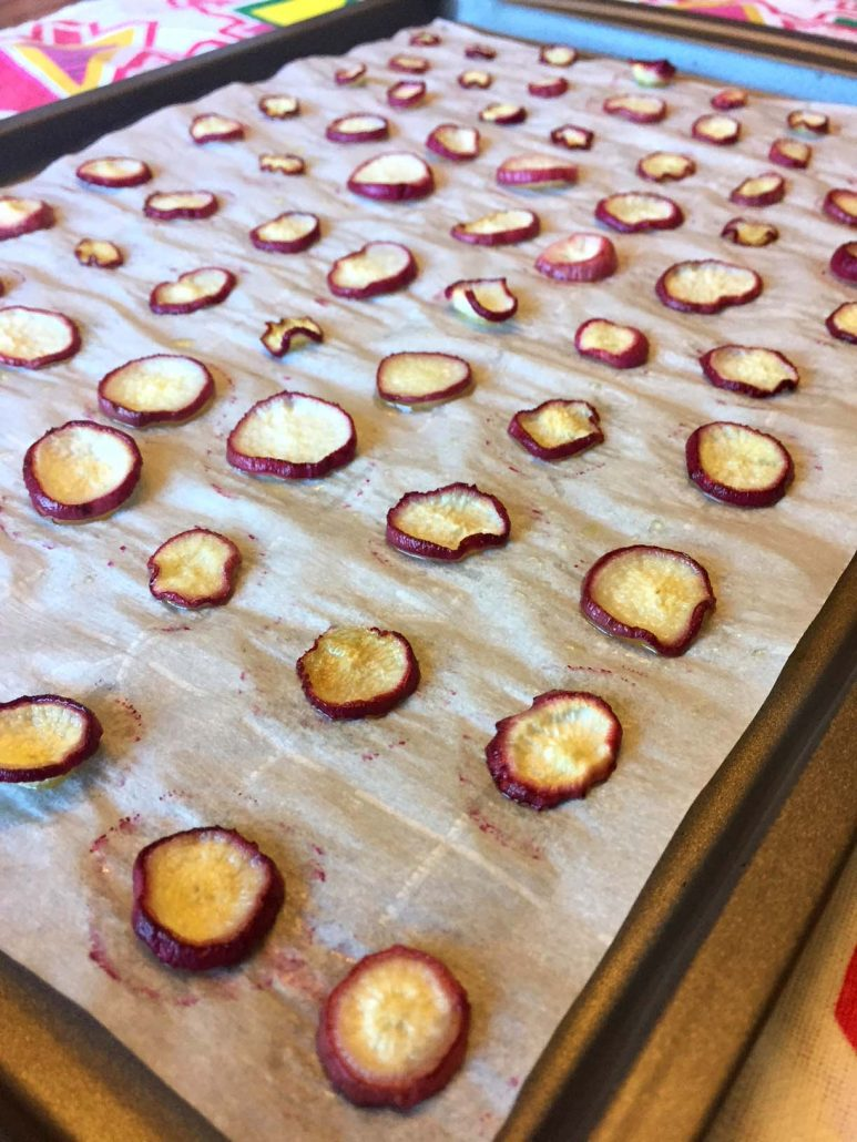 oven baked radish chips