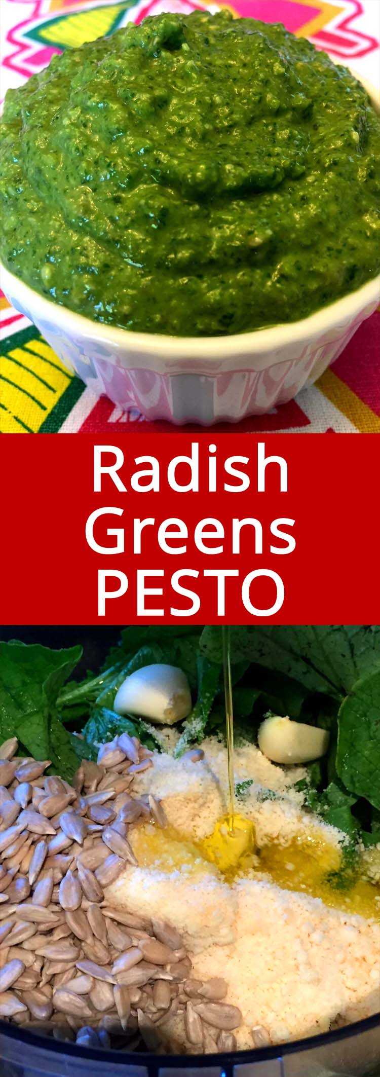 What a great way to use up those radish leaves! This radish greens pesto is amazing!
