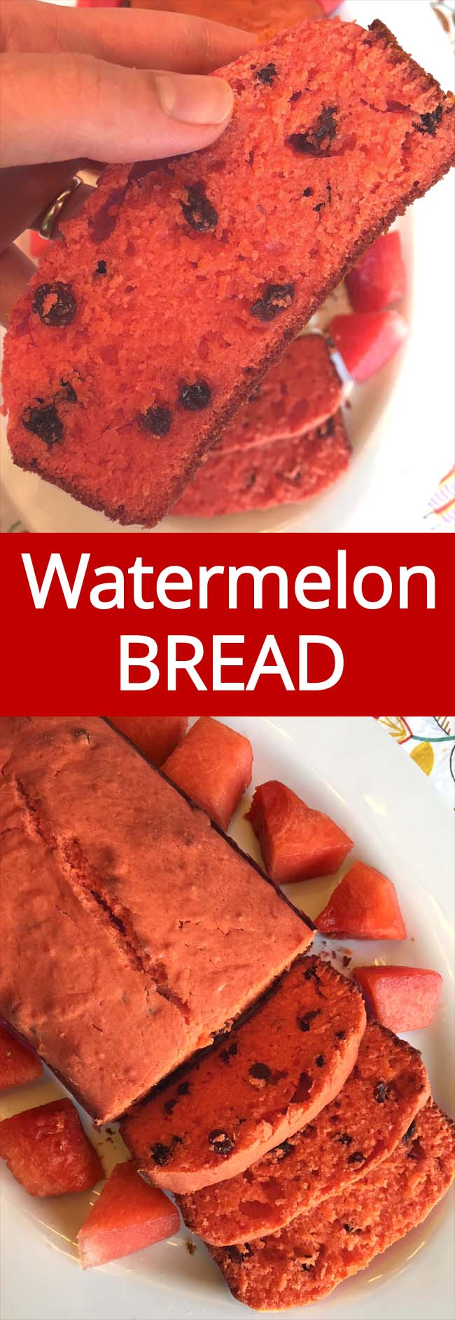 This fresh watermelon bread is amazing! What a perfect way to use up leftover watermelon!