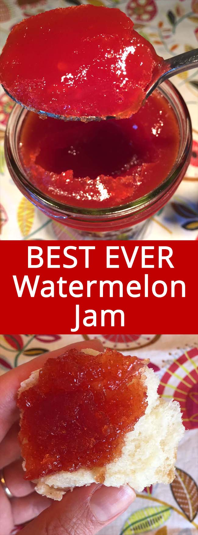 This watermelon jam recipe is amazing! Perfectly set jam that tastes like extremely concentrated watermelon - mmmmm! Super easy to make, perfect for beginners! This is the only watermelon jam recipe you'll ever need!