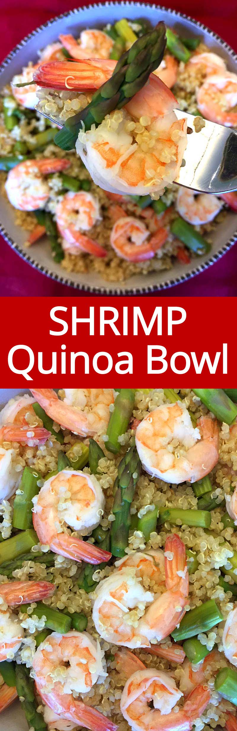 This shrimp asparagus quinoa bowl is amazing! So healthy, filling and delicious! So easy to make, perfect for weekly meal prep!