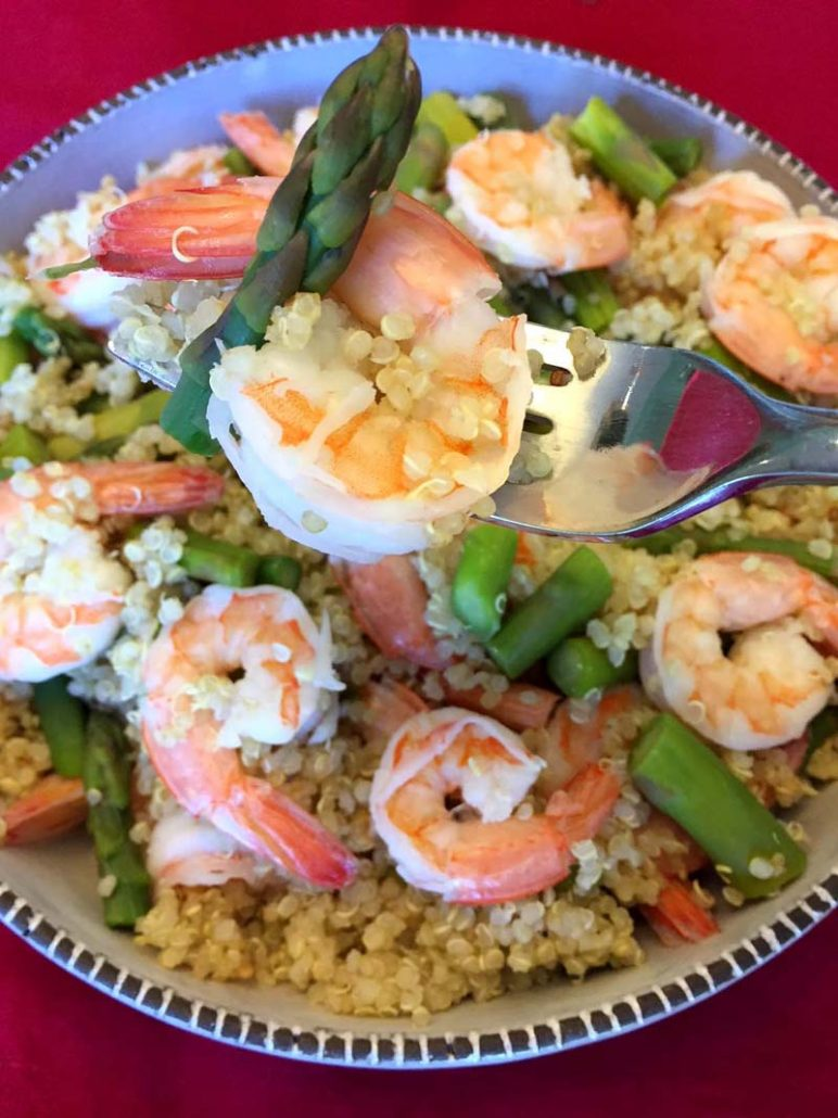 Shrimp quinoa bowl with asparagus