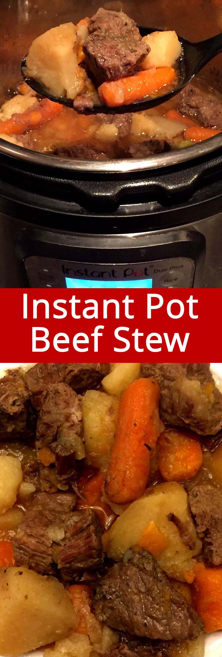 This Instant Pot beef stew is amazing! PINNING FOR LATER!! Just dump the ingredients in the Instant Pot and it will cook you a delicious dinner! This is the only beef stew recipe you'll ever need!