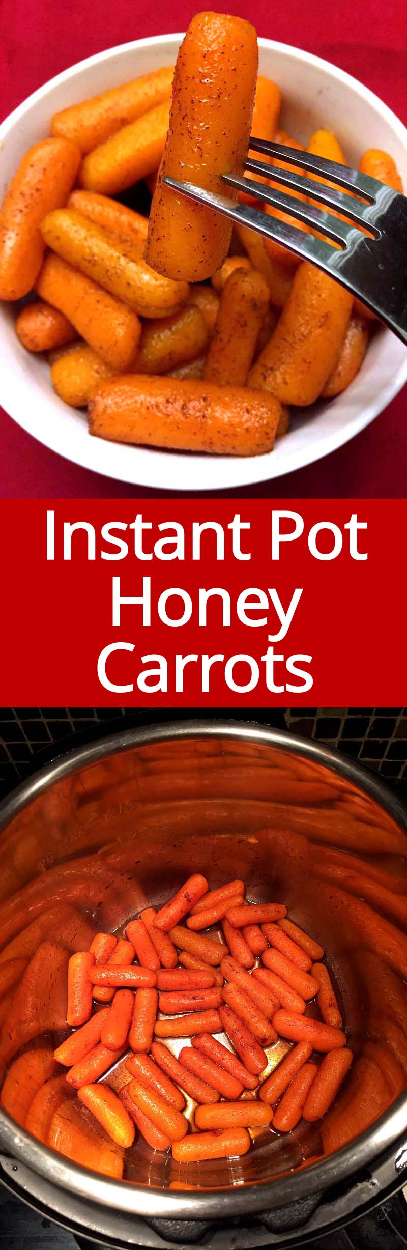 These Instant Pot baby carrots are amazing! So easy to make and so delicious with cinnamon honey glaze! They are actually pretty healthy too as this recipe is using just honey to sweeten the carrots!
