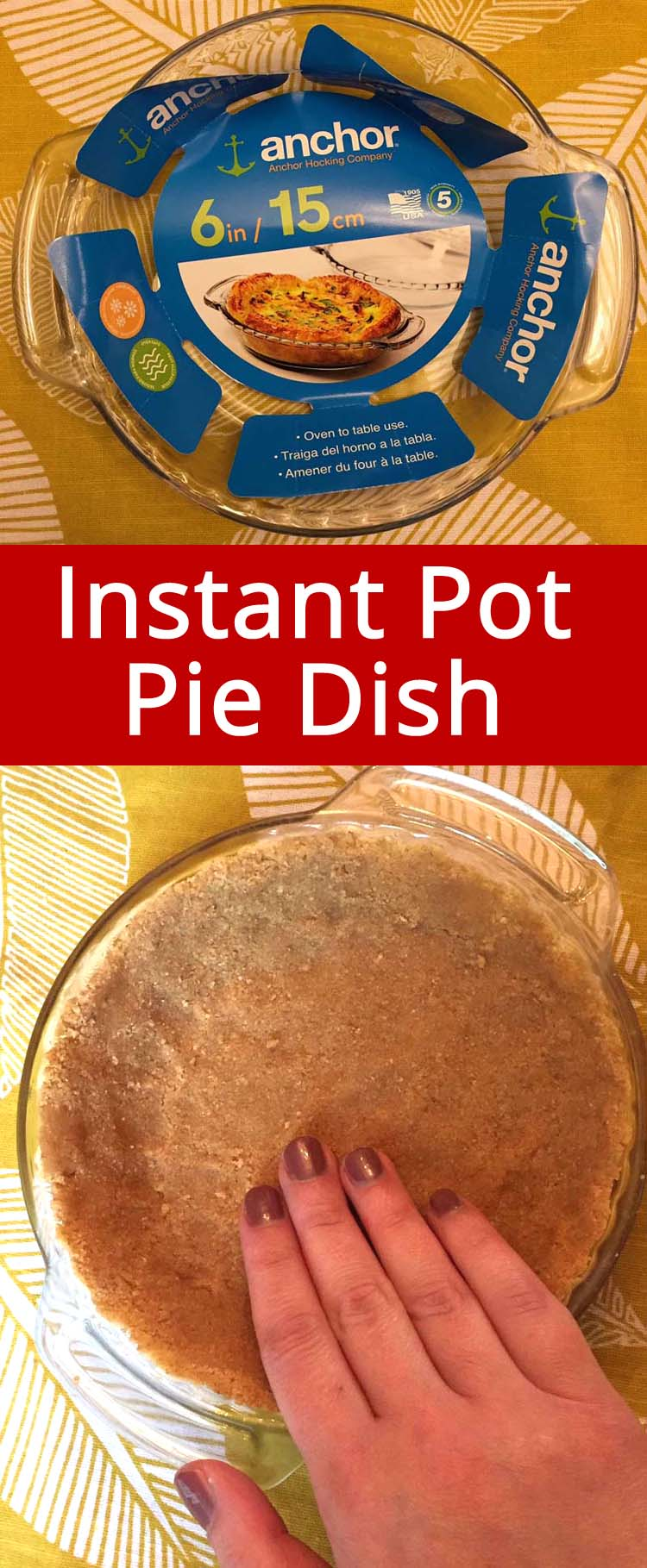 If you want to make pies in the Instant Pot in a classic pie dish, this Instant Pot pie dish is exactly what you need!  It fits inside the Instant Pot perfectly!