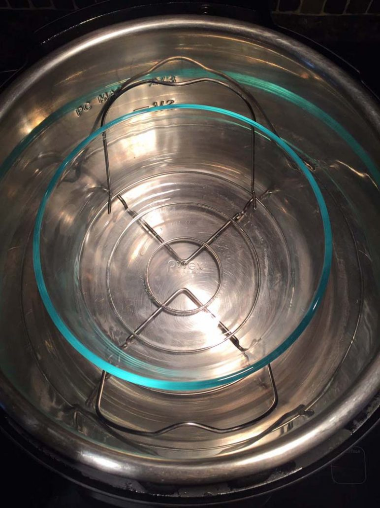 Round Pyrex bowl inside the Instant Pot