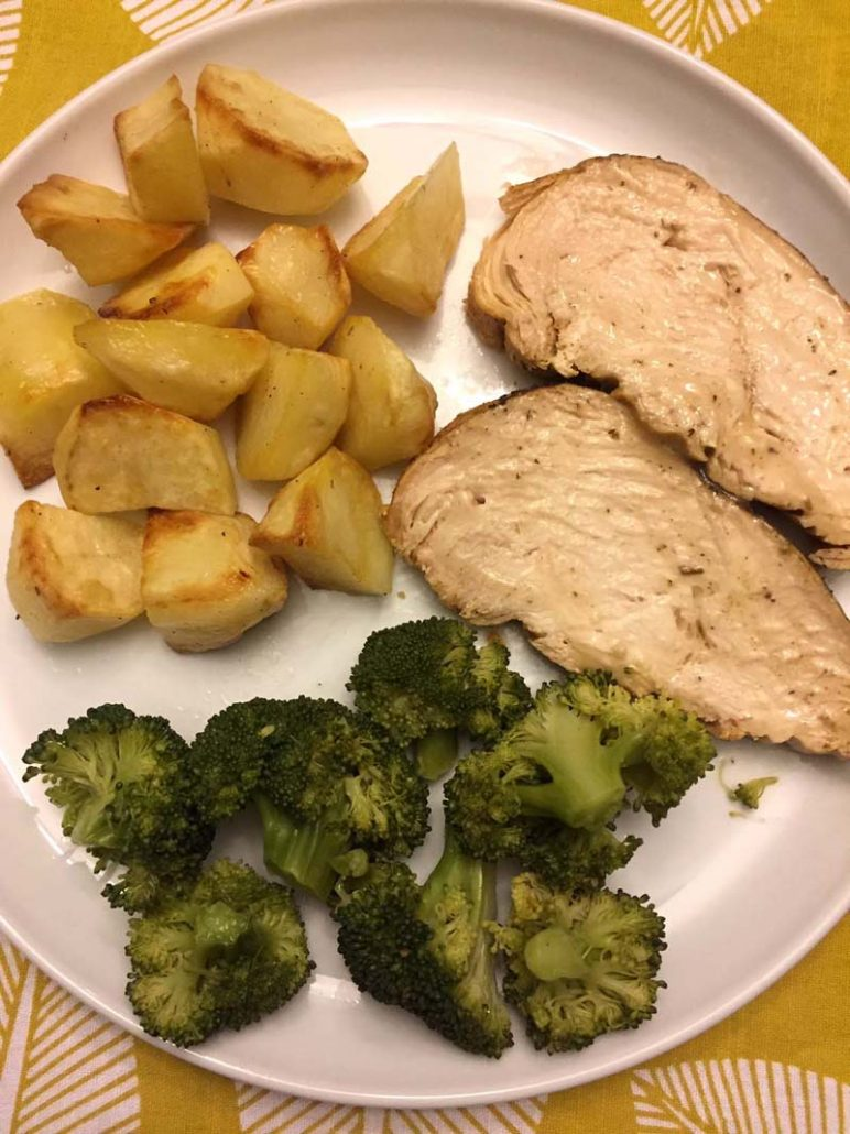 Instant Pot turkey breast slices with potatoes and broccoli