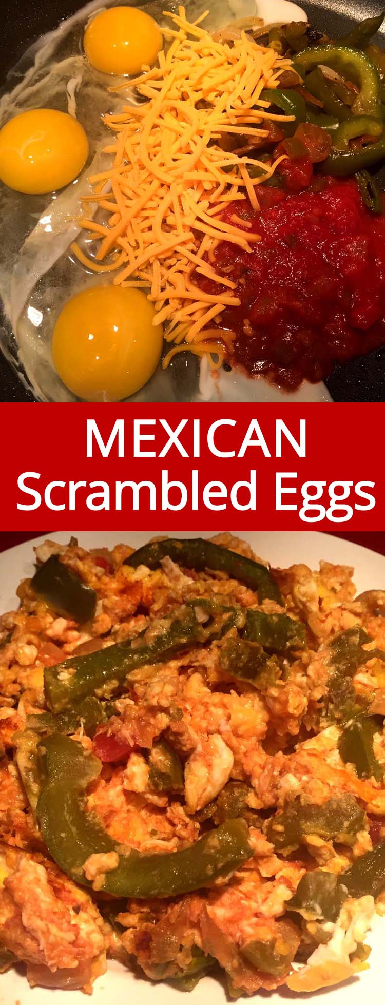 These Mexican scrambled eggs are amazing!  When I need to change up my omelette routine, this is exactly what I need! Eggs, peppers, onions, salsa and shredded cheese - mmmm!