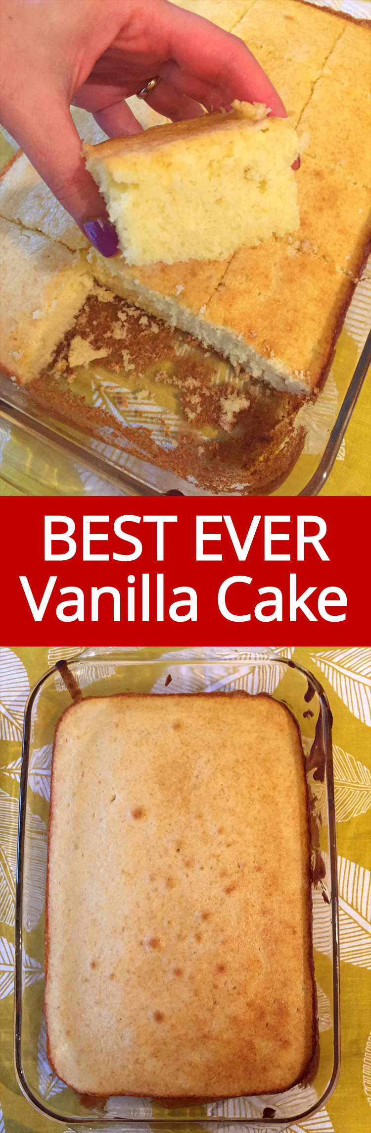 This homemade vanilla cake recipe is the best ever! Once you try making vanilla cake from scratch, you will never want to eat one from the mix!