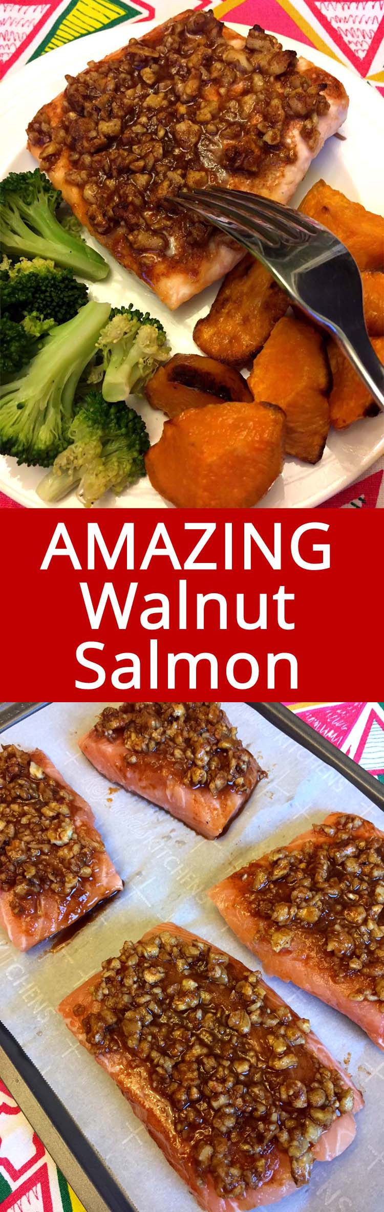 This walnut maple crusted baked salmon is amazing! The crust is so finger-lickin' good and the salmon is so tender!  Perfect meal!