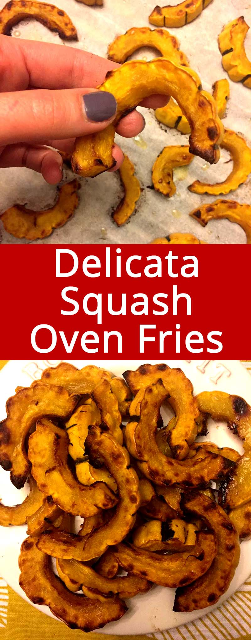 These delicata squash fries are amazing! These are my favorite healthy oven baked fries! We just can't stop eating them!