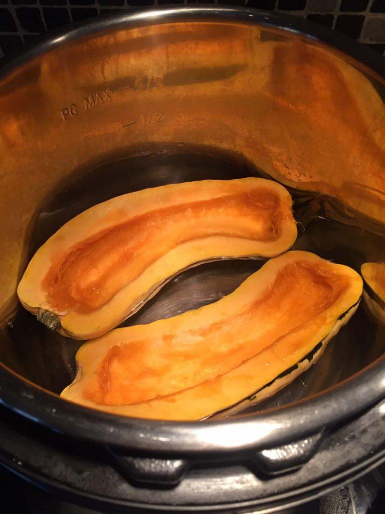 Delicata squash halves in the Instant Pot