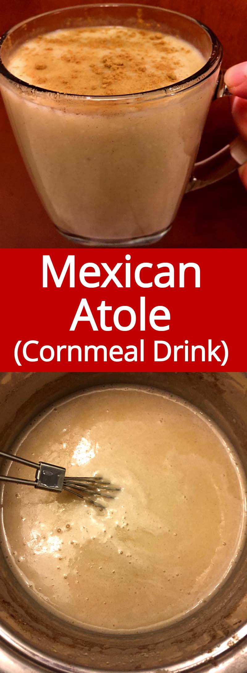 This is the authentic recipe for Mexican Atole warm cornmeal drink.  This stuff is so good! Perfect for winter!