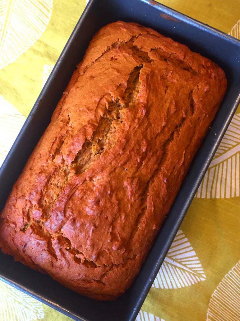 Loaf of homemade pumpkin bread