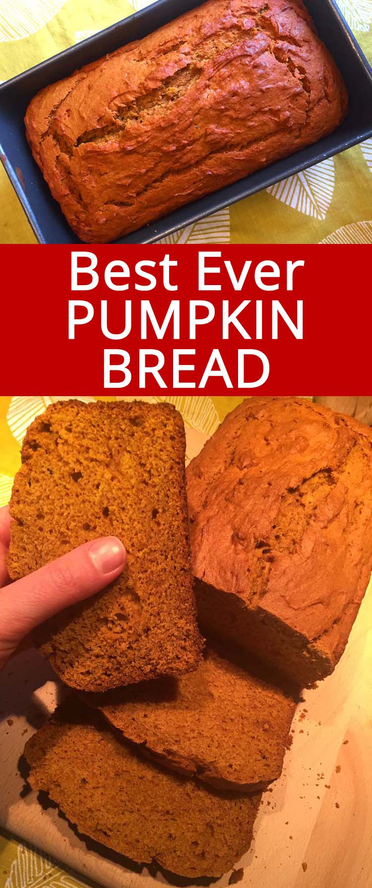 This pumpkin loaf is so easy to make and tastes amazing! This is the only pumpkin bread recipe you'll ever need! Truly the best ever!