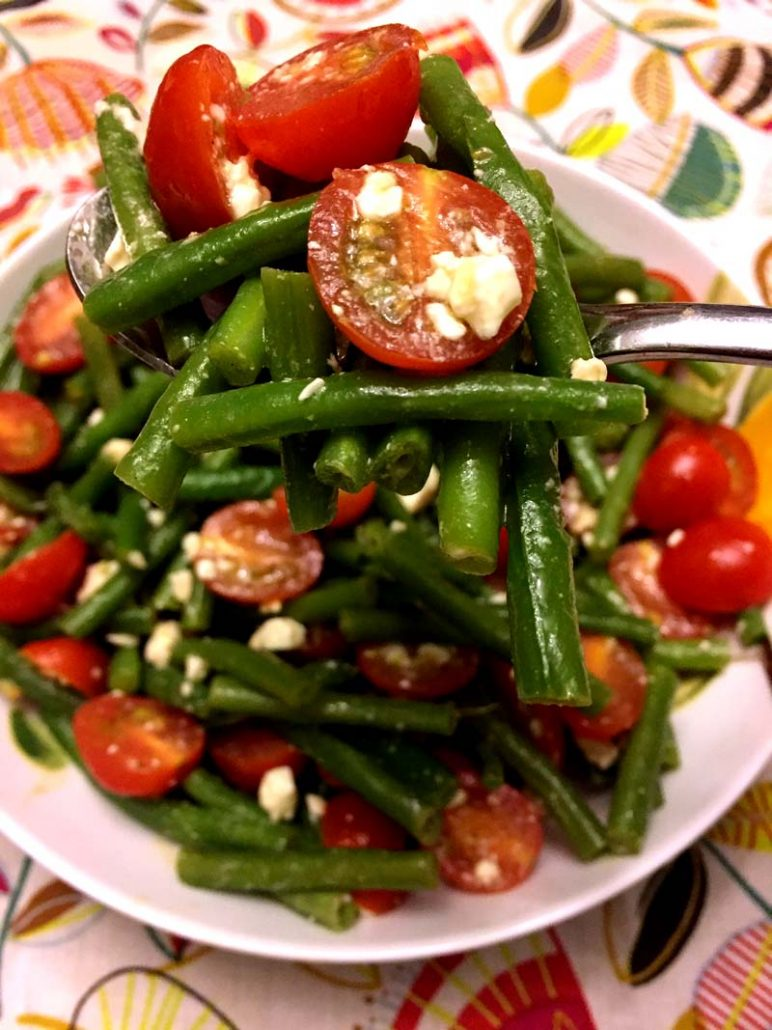 Italian green bean tomato feta salad