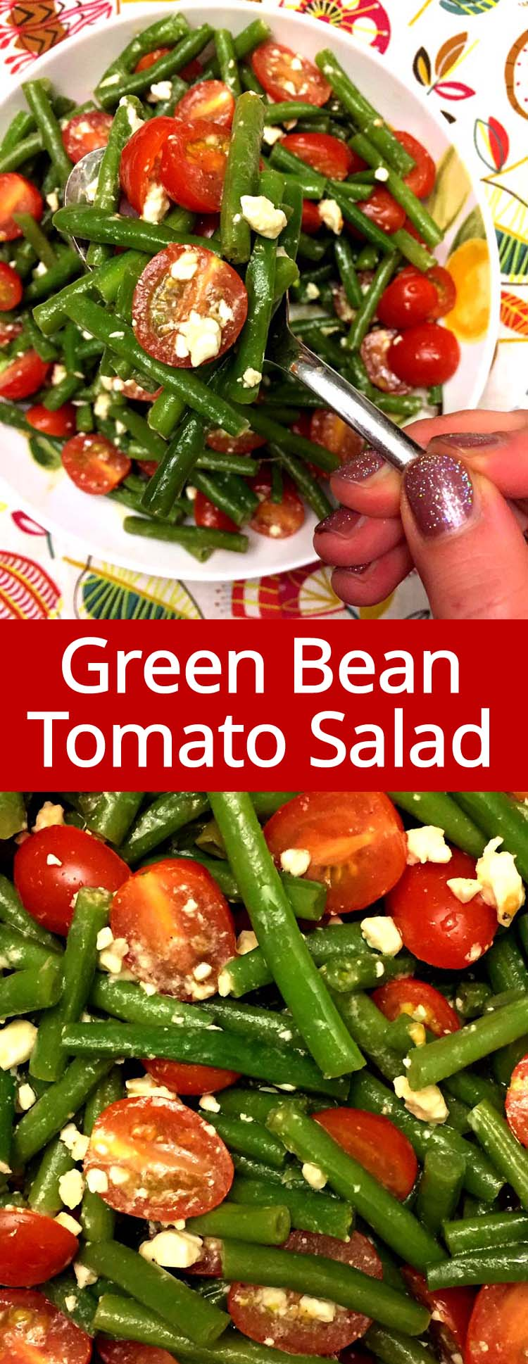 This green beans, cherry tomatoes and feta salad is amazing! So healthy, yummy, colorful and refreshing! Super easy to make too!