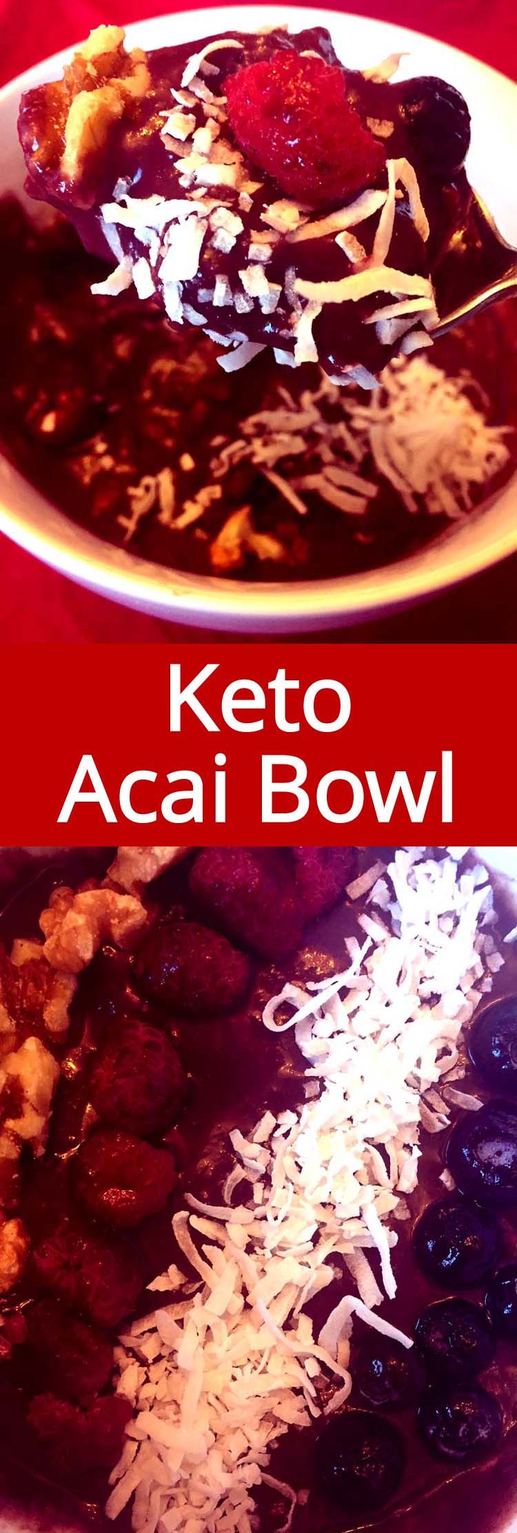 This keto acai bowl is amazing! Finally an acai bowl that is not loaded with sugar and carbs! I love this low-carb acai bowl!