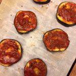Eggplant pizza tomato sauce