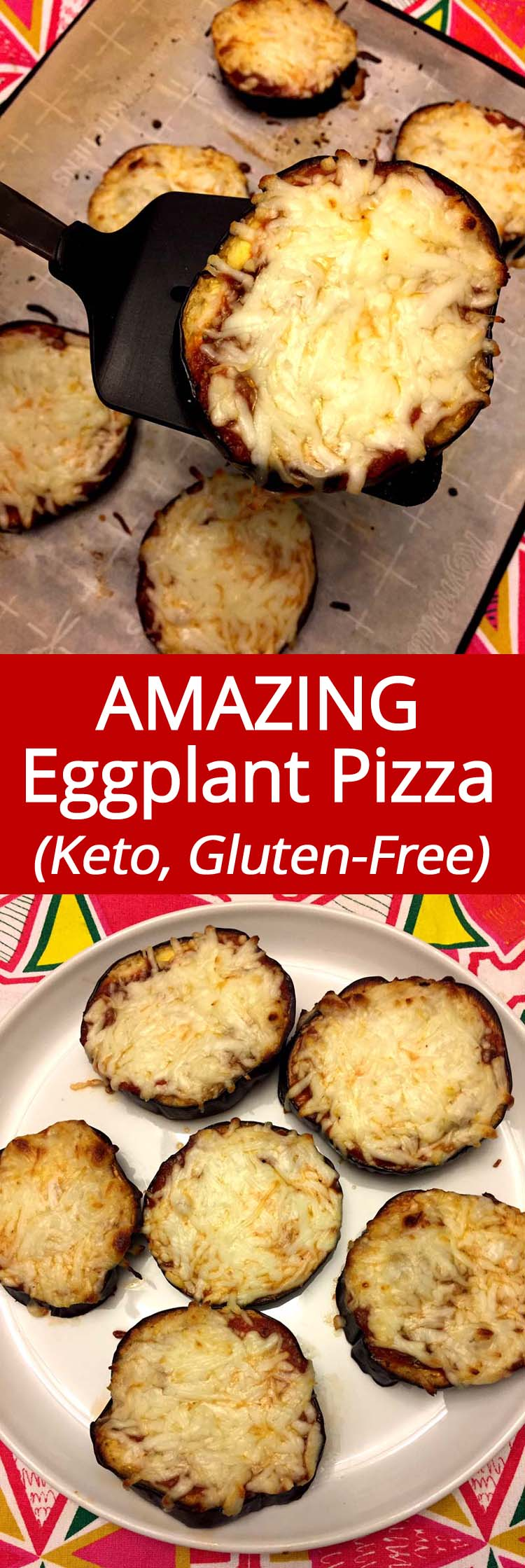 These keto eggplant pizzas are amazing! Finally a pizza recipe that's good for you! These eggplant pizza bites are low-carb and gluten-free and taste amazing!