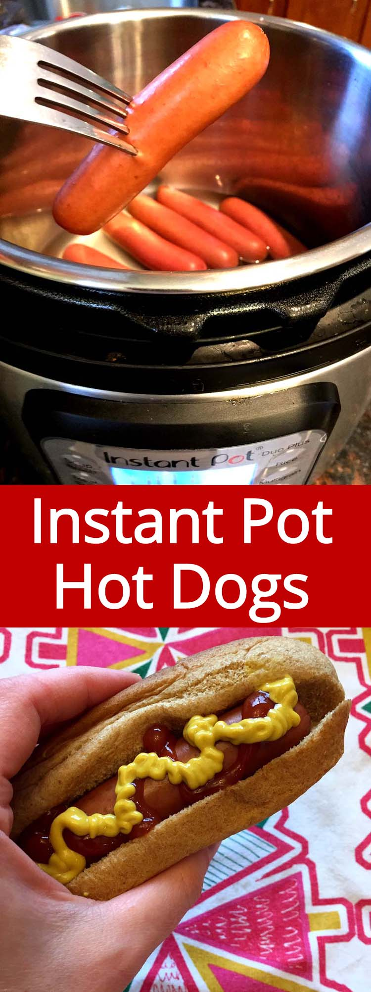 These Instant Pot hot dogs are amazing! Cook the whole package of hot dogs to perfection in minutes! I love Instant Pot!