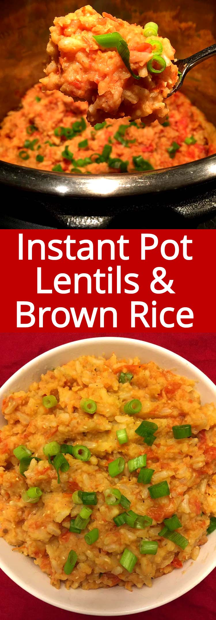 This Instant Pot lentils and brown rice is amazing! Perfect vegan one-pot dinner, super filling!  Just dump the ingredients and press the button!