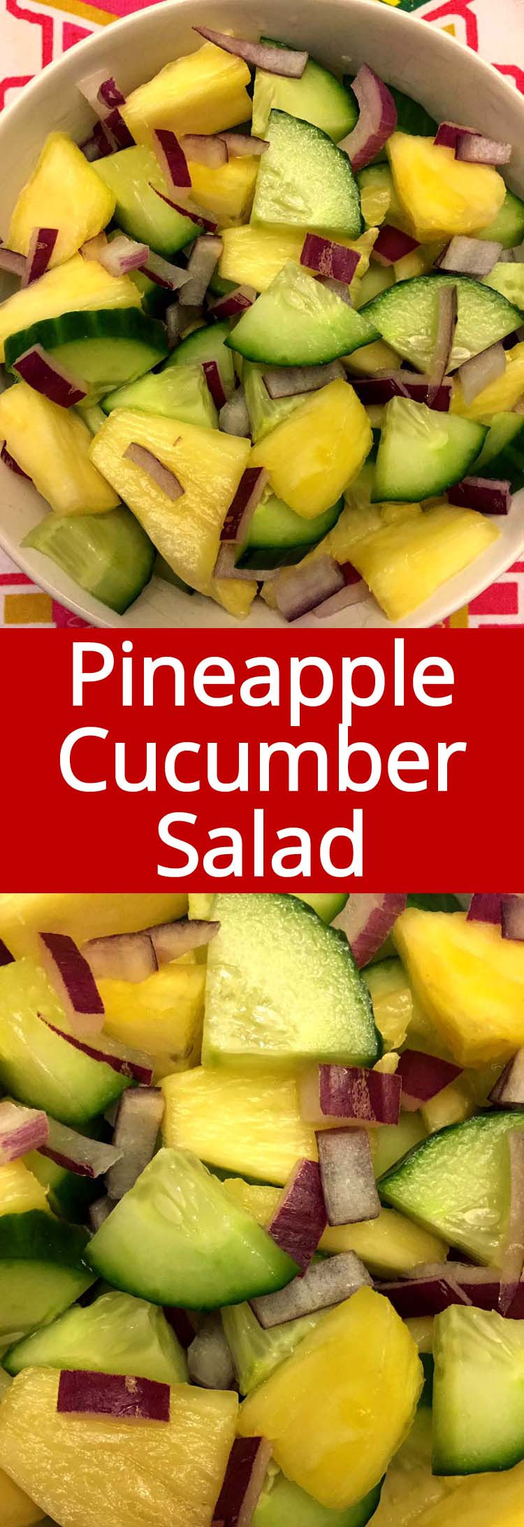 This pineapple cucumber salad is amazing! So healthy and refreshing! I can eat the whole bowl in one sitting!